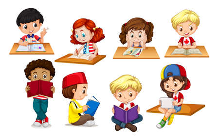 Children reading and writing illustration