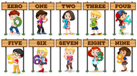 number 8: Children holding number zero to nine illustration