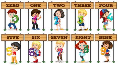 nombres: Enfants tenant le numéro zéro à neuf illustration