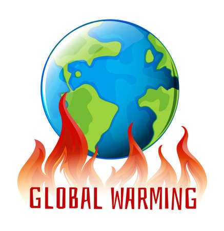 earth planet: Global warming sign with earth on fire illustration