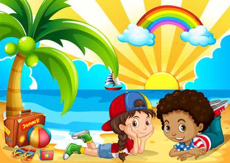 Children having fun on the beach illustration Illustration