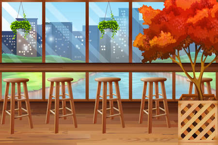 Inside of cafe with bar and stools illustration Illustration