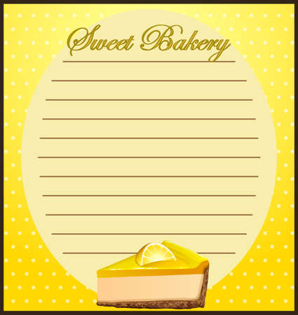 cheesecake: Line paper with lemon cheesecake illustration