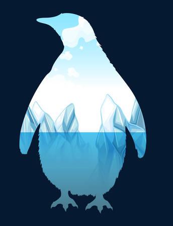 Sparen het wild design met pinguïn illustratie