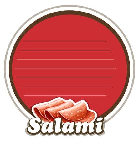 salami: Salami on round badge illustration