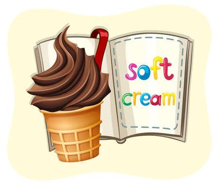 soft cream: Soft chocolate cream and a book illustration