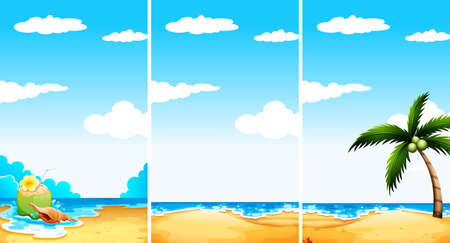 coconut water: Beach scene in three different viewpoint illustration