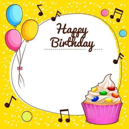 cupcake illustration: Happy birthday sign with cupcake design illustration