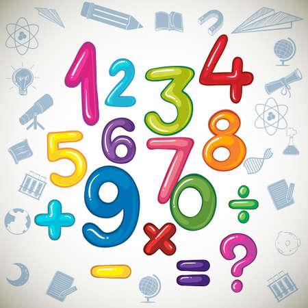 numero nueve: Los números y signos matemáticos ilustración Vectores
