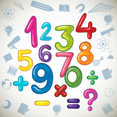 number three: Numbers and math signs illustration