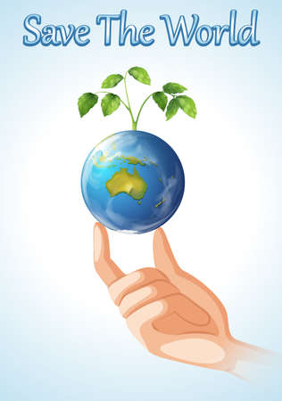hands holding tree: Save the world design with earth and plant illustration