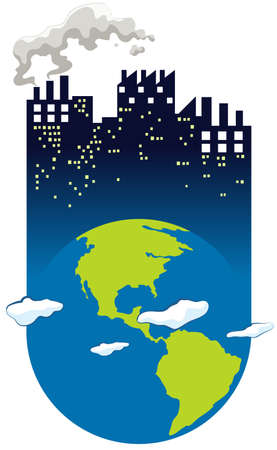 illustrated globes: Save the world sign with earth and factory illustration