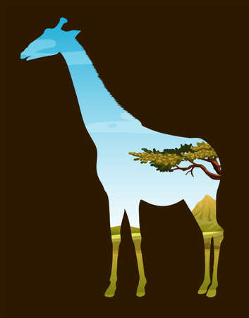 wildlife: Wildlife design with giraffe and field illustration