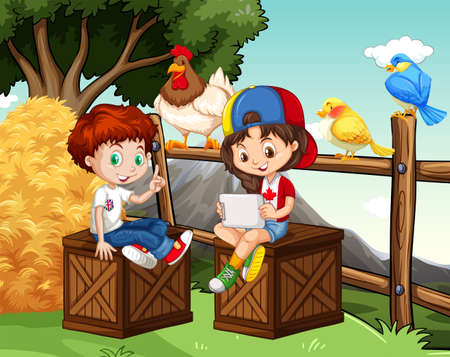 hanging girl: Boy and girl hanging out in the farm illustration