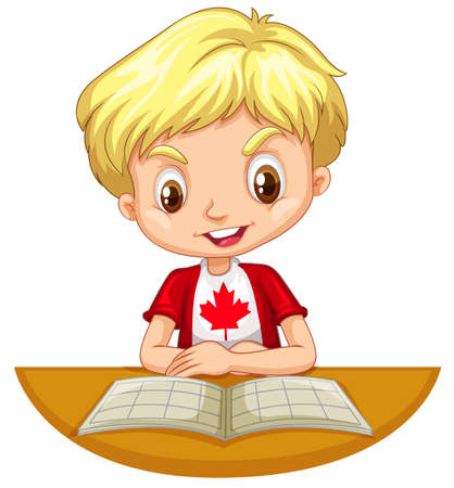 assignments: Little boy reading a book illustration