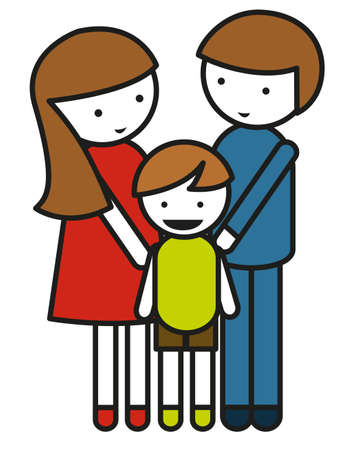 son of man: Family symbol with parents and child illustration