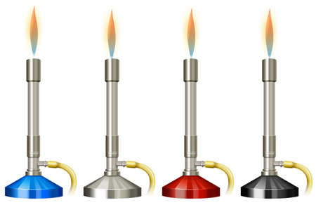 science lab: Lab burner with flame illustration Illustration
