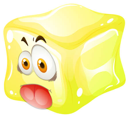 funny pictures: Yellow cube with silly face illustration Illustration