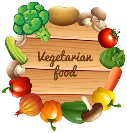 bell tomato: Border design with fresh vegetables illustration
