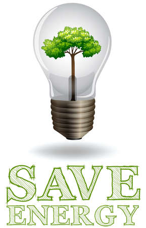 adverts: Save energy adverts with lightbulb and tree illustration