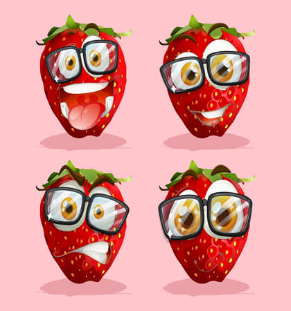 strawberry: Fresh strawberry with faces illustration