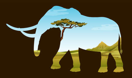 wildlife: Save wildlife with elephant and field illustration