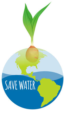 ahorrar agua: Save water diagram with earth and plant illustration
