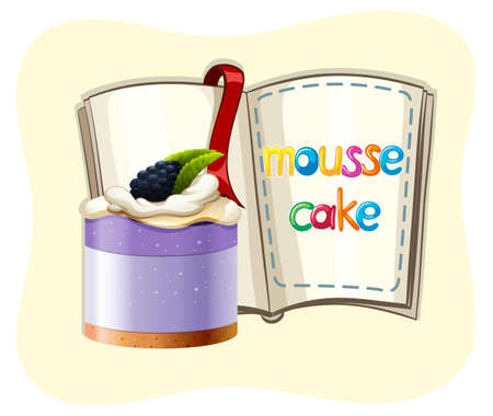 mousse: Blueberry mousse cake and a book illustration