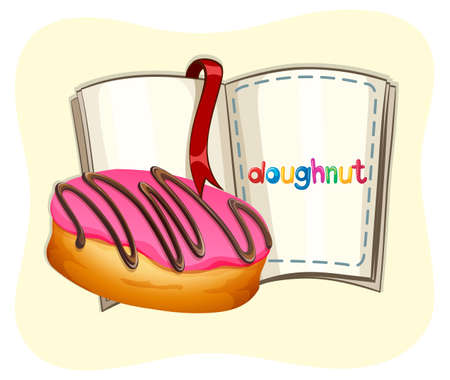 frosting: Donut with pink frosting and a book illustration