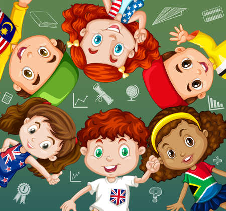 international students: International students and school objects illustration