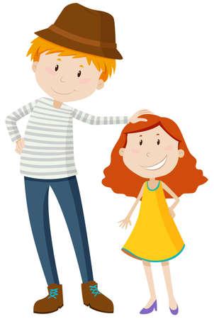 Uomo alto e breve illustrazione ragazza