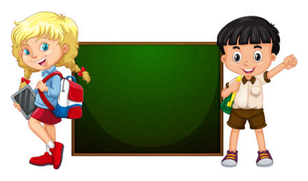 Boy and girl standing by the board illustration