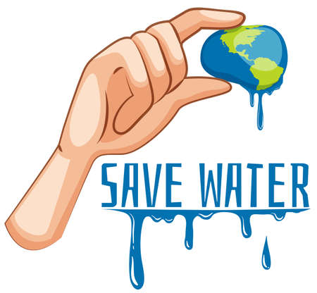 squeezed: Save water sign with earth being squeezed illustration