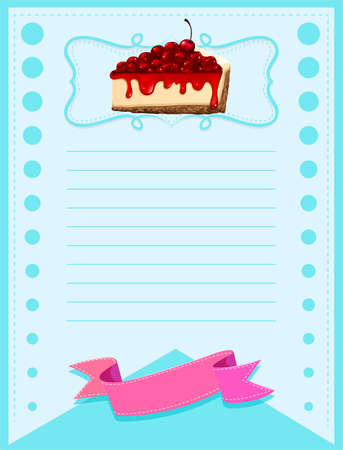 cheesecake: Line paper design with cheesecake illustration Illustration