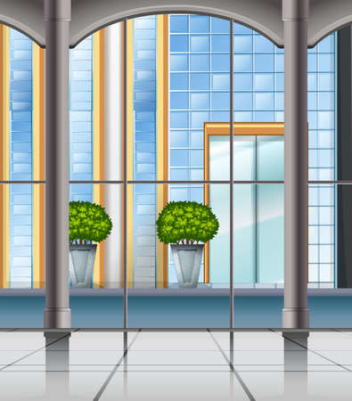 city view: Room with window and city view illustration Illustration