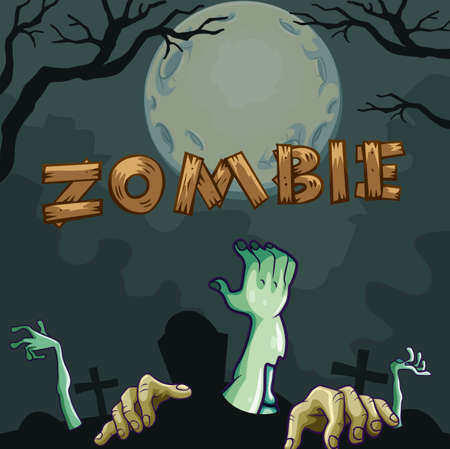 coming out: Zombie hands coming out of the ground illustration