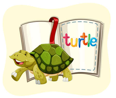 cartoon mascot: Turtle walking and a book illustration