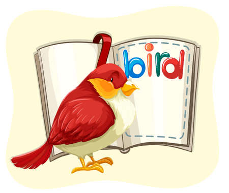 bird clipart: Red bird and opened book illustration