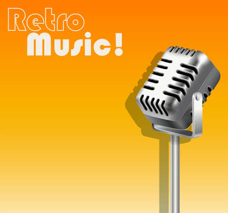 metalic design: Microphone on orange background illustration