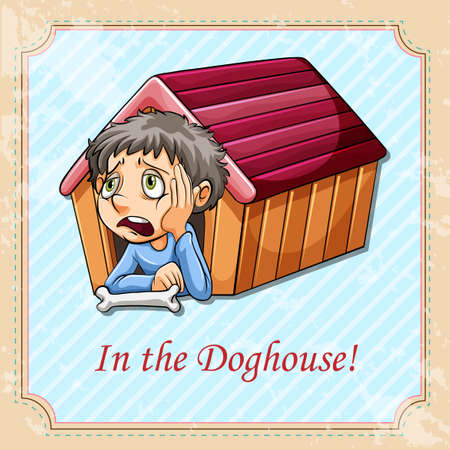 idiom: Idiom in the doghouse illustration Illustration