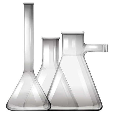 biology lab: Empty glass beakers and flasks illustration