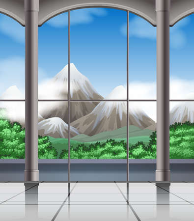 mountain view: Room with mountain view illustration