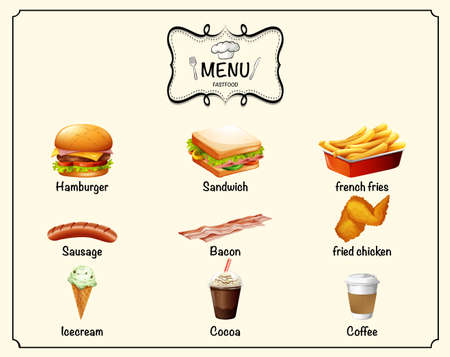 bacon art: Different kind of fastfood on menu illustration