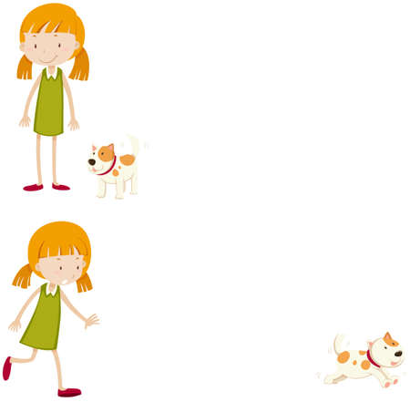 near: Little girl with her pet dog illustration