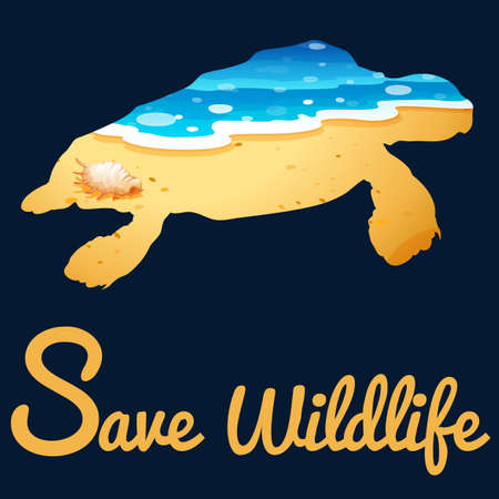 carnivores: Save wildlife poster with sea turtle illustration Illustration