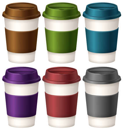 red cup: Coffee cups in six different colors illustration