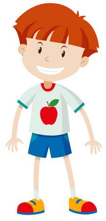 red hair: Happy boy smiling on white illustration Illustration