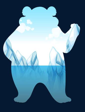 northpole: Save the Wold bord met ijsbeer illustratie Stock Illustratie