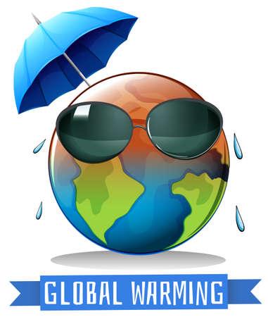 지구와 우산 일러스트와 함께 지구 온난화 일러스트