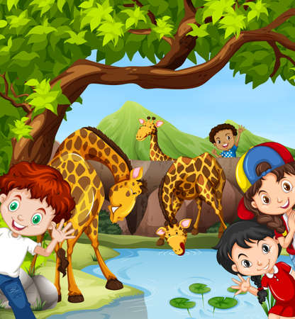 children pond: Children and giraffe by the pond illustration Illustration